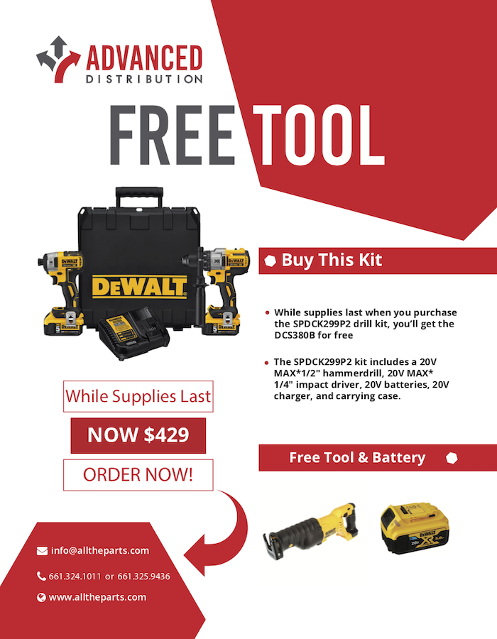 "While supplies last when you purchase the SPDCK299P2 drill kit, you'll get the DCS380B for free The SPDCK299P2 kit includes a 20V MAX*1/2"" hammerdrill, 20V MAX* 1/4"" impact driver, 20V batteries, 20V charger, and carrying case. Free tool & battery."